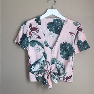 Lush Palm Print Tie Front Top